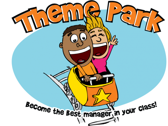 Cartoon of kids on a rollar coaster. Theme Park, a web-based game on probability and statistics