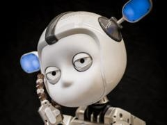 a with robot that looks like a cartoon