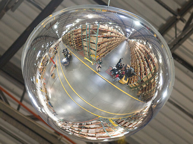 a mirror in a manufacturing plant