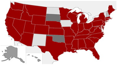 Picture of states Senior Design Projects have participated in
