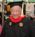 Leo Benatar, 86-year-old graduate with his Master's of Science in industrial engineering.
