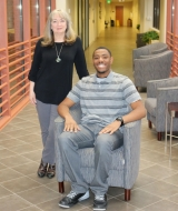 Barbara Christopher and Donte Preston, Christopher Scholarship recipient.