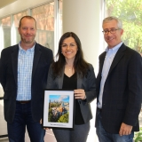 Ph.D. student Beste Basciftci, winner of the Alice and John Jarvis Ph.D. Student Research Award, with School Chair Edwin Romeijn and Associate Chair for Graduate Studies Alan Erera