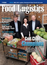 (L-R):  Don Ratliff, Jaymie Forrest, and Harvey Donaldson, who head the Georgia Tech Integrated Food Chain Center, appear on cover of Food Logistics Magazine.