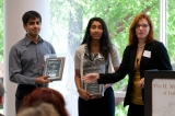 Professor Julie Swann (R) with Sanjana Rao and Aditya Singhal (L), ISyE Leadership Award recipients.