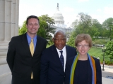 Valerie Thomas visits with Representative John Lewis (center) during Congressional Visits Day