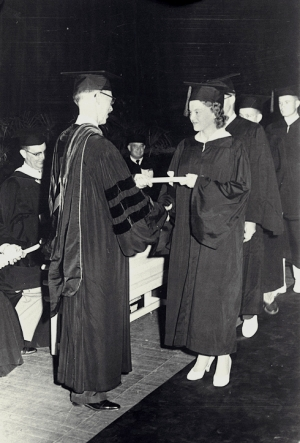 Diane Michel, the first woman to complete her degree from start to finish at Tech, graduates with a degree in industrial engineering in 1956.