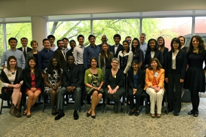 ISyE undergrads with faculty, staff, and families