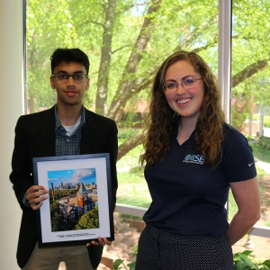 ISyE undergrad Anirudh Thatavarty, recipient of the OUstanding First Year Award from the GT IISE Student Chapter, with IISE president Casey Wood