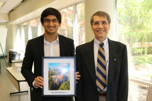 ISyE fourth-year Arjun Patra, winner of the Institute of Industrial and Systems Engineers Excellence in Leadership Award, with Associate Chair for Undergraduate Studies Chen Zhou