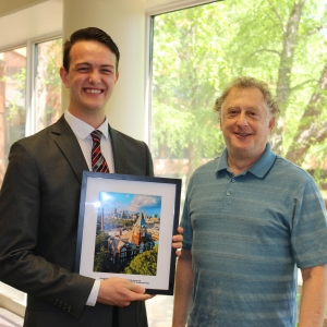 ISyE thrd-year Chase Warner, winner of the COE Honors Day Award, with Professor Craig Tovey