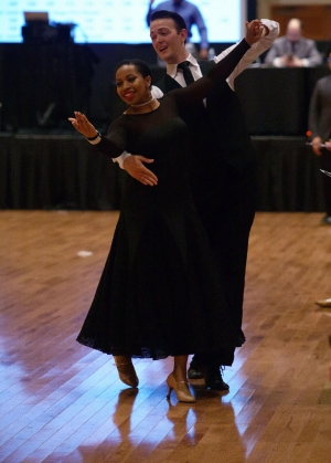 Chase Warner and his dance partner, second-year biomedical engineering major Cameron Russ