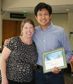 Director of Student Services Dawn Strickland with Michael Wang, recipient of the Henry Ford Scholar Award