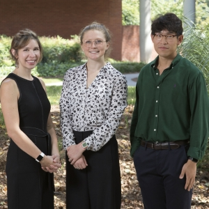 ISyE Director of Professional Practice and Senior Design Coordinator Dima Nazzal, fourth-year Emma Baubly, and fourth-year Kevin Kwon