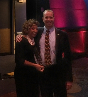 Errika Moore with ISyE School Chair Edwin Romeijn at the 2016 WIT Awards ceremony.