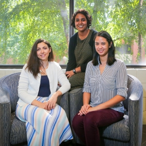 Some of the ISyE students who brought order to Shepherd's patient scheduling (l-r): Idil Arsik, Kirthana Hampapur, and Danielle Regala