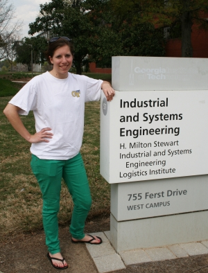 Ginny MacGowan standing outside of the ISyE building.
