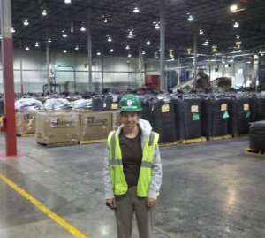 Ginny in her hard hat at Lehigh Technologies