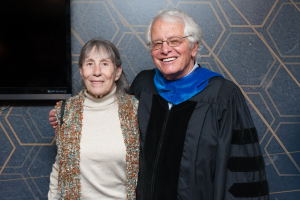 George and Ellen Nemhauser at the Fall 2015 graduate student Commencement ceremony, where George was honored as the Class of 1934 Outstanding Faculty Award recipient.