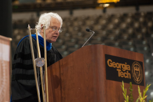 The recipient of the Class of 1934 Outstanding Faculty Award, George Nemhauser spoke at the Fall 2015 Commencement for  Ph.D. and master's students.