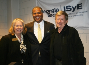 Primus (center) with School Chair Jane Ammons and Professor Don Ratliff after the 2013 Distinguished Leadership Lecture on October 17.