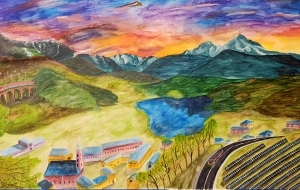 Judith Brennan, a 5th-yr. double major in ISyE and discrete math, used watercolors to paint possible future interactions between humans, technology, and the environment.