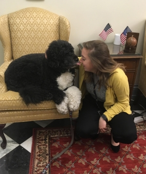 Lois Johnson gets a kiss from Bo, the First Dog