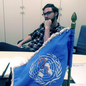 Michael Roytman at the UN compound in Erbil, Iraq in 2014. He presented the Dharma platform -- which was still being developed -- at the WHO regional HQ.