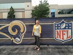 Lally at her new job with the St. Louis Rams