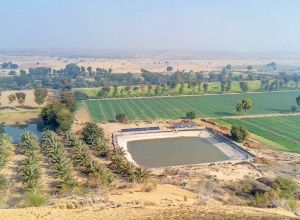 A pond lined with Avana's wide polymer material allows farmers to store water for crop irrigation.