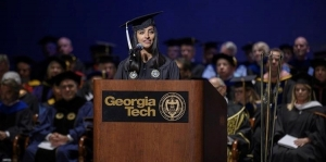 As SGA president, Pooja Juvekar addressed Georgia Tech's incoming first-years at Convocation.