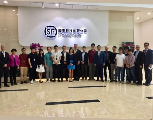 Dr. Bud Peterson at SF Express with faculty and student researchers and alumni