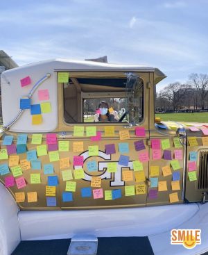Post-it notes on the Ramblin' Wreck