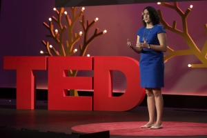 ISyE alumna Mallory Soldner presenting her TED talk