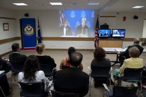 Angie Leith from the US Environmental Protection Agency (left) and Dr Valerie Thomas from Georgia Tech Atlanta beam in from Washington DC to an interested audience at the US Embassy in Wellington, New Zealand.