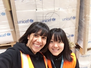Yuxi Wu at one of the UNICEF warehouses in Amman, Jordan, where she was counting year-end inventory with a colleague. Wu says that contrary to her expectations about the weather in Amman,