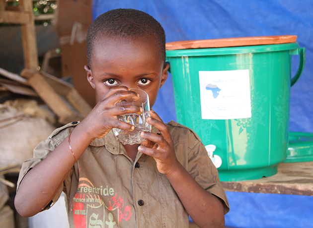 Child drinking filtered water