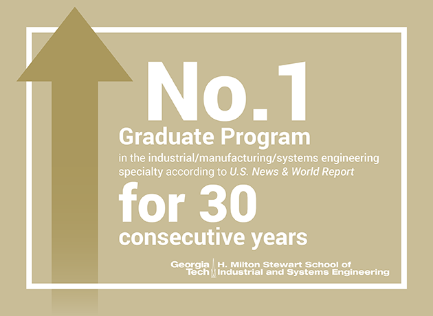 For the 30th consecutive year, ISyE's grad program is ranked No. 1 by USNWR.