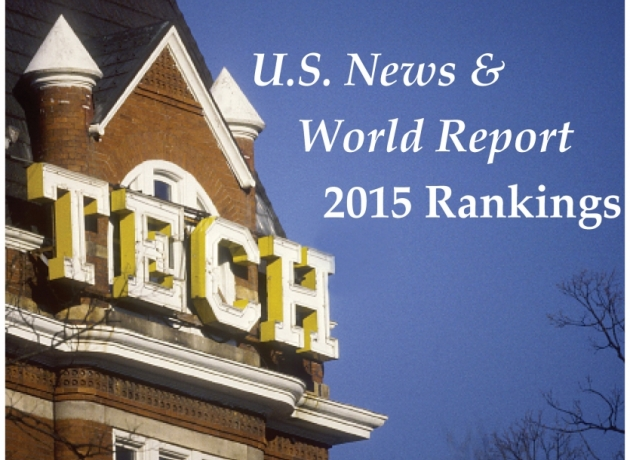 picture of Tech Tower with text U.S. News & World Report 2015 Rankings