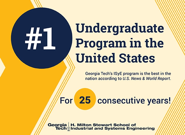 For a quarter-century, ISyE's undergraduate program has been ranked No. 1. by U.S. News & World Report