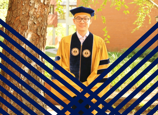 Richard Zheng in cap and gown