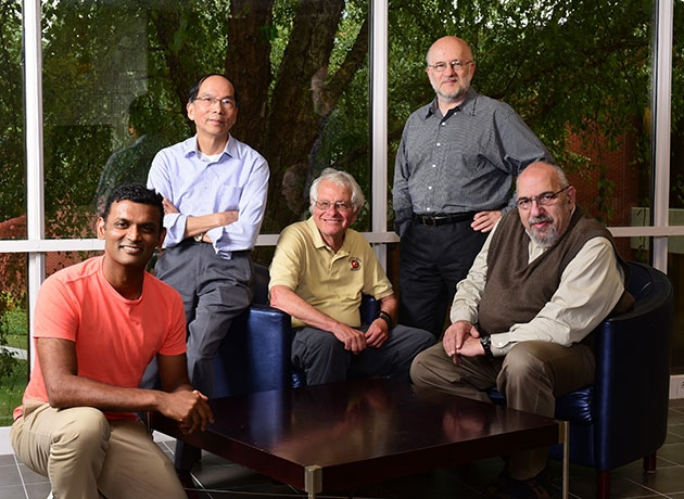 ISyE's Titans of Theory (left to right): Santosh Vempala, ISyE Courtesy Appointment and Distinguished Professor of the College of Computing, Jeff Wu, Coca-Cola Chair in Engineering Statistics and professor, George Nemhauser, A. Russell Chandler III Chair and professor, Alex Shapiro, professor, and Arkadi Nemirovski, John Hunter Chair and professor.